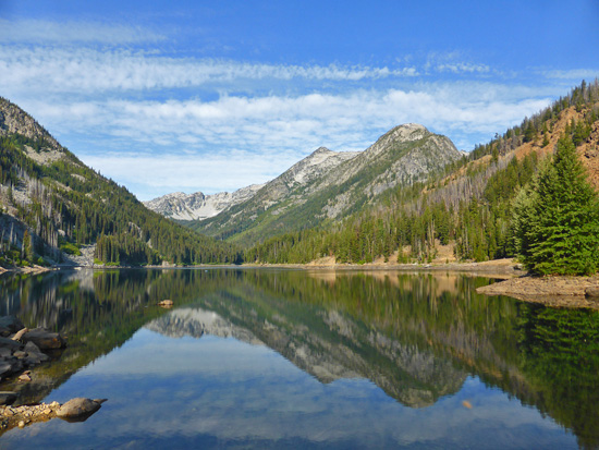 Eightmile Lake (4,641') under Jack Ridge in the Stuart Range