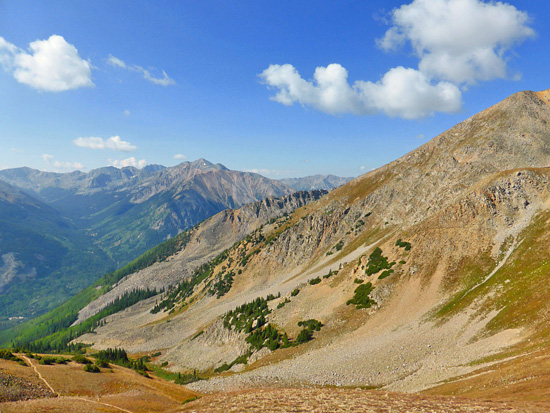 Looking south from Hope Pass (12,508') into the Collegiate Peaks