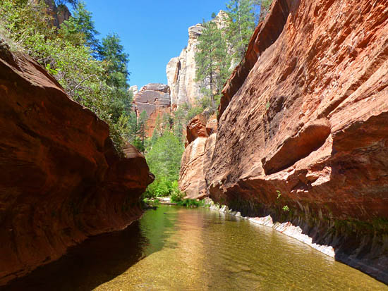 The West Fork Trail ends and swim begins 3.2 miles from Call O' The Canyon Trailhead